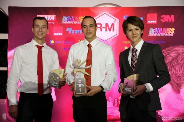 入賞者3名 (左から右)、3位 マイルズ・ベルジャックさん(カナダ・28歳)、1位 ベリー・コーイマンさん(オランダ・23歳)、2位 横田原也さん(日本・27歳)