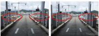 左:通常時のETCレーン発進制御バー開閉 右:実験中のETCレーン制御バー開放