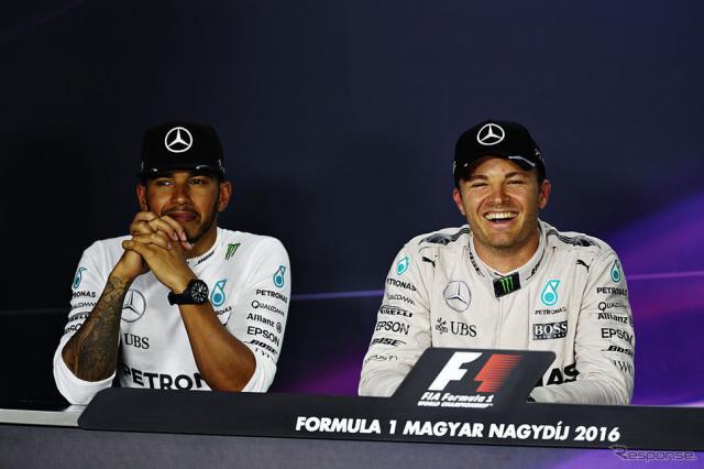 今季もチャンピオン争いを繰り広げるルイス・ハミルトンとニコ・ロズベルグ(c) Getty Images