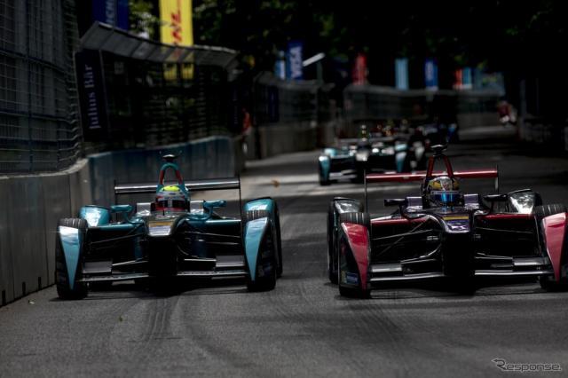 フォーミュラEロンドン戦(7月)。音が従来の自動車レースと比べて静なので、市街地コースを設定しやすい。 (c) Getty Images