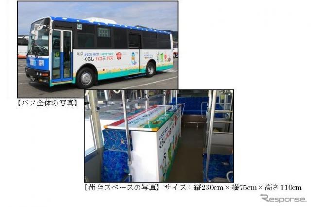 座席の一部を荷台スペースにした路線バス