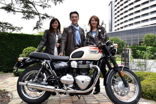 写真中央はトライアンフモーターサイクルズジャパン野田一夫代表取締役社長。撮影 青木タカオ