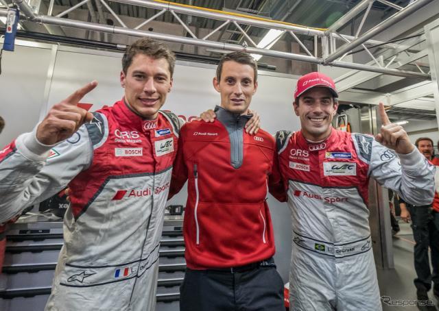 ポールポジションを獲得した#8 アウディの(左から)デュバル、ジャービス、ディ・グラッシ。写真:FIA WEC