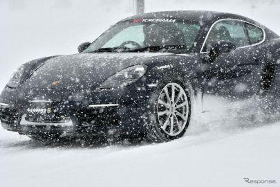 低偏平のIG60を装着した718ケイマンを駆り総合圧雪路でスラロームを試した《撮影 中野英幸》