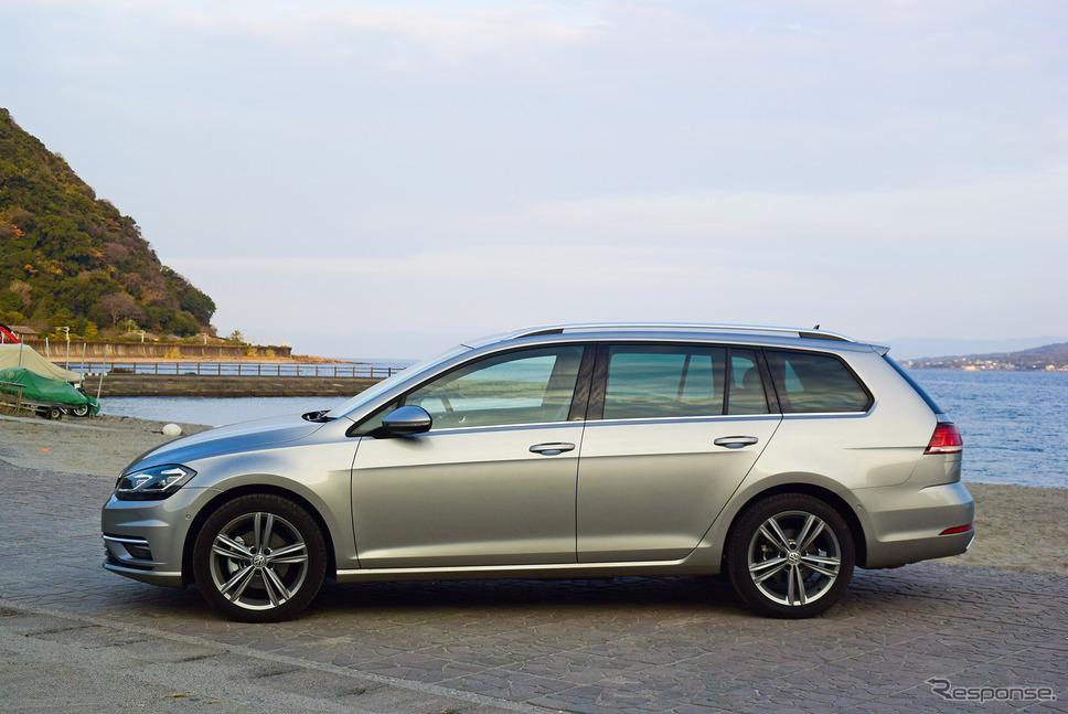 VW ゴルフ ヴァリアントTDI ハイラインマイスター。何の変哲もないワゴンスタイルだが、ウインドウのベルトラインを大きく下げ、窓面積をできるだけ広く取るよう見事にデザインされているのがわかる。《写真撮影 井元康一郎》