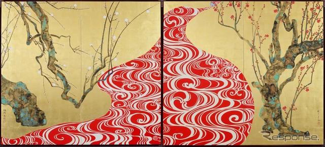 紅白紅白梅図屏風 2014年 二曲一双 紙本金地着色(山本太郎 作)《画像提供 imura art gallery tokyo》