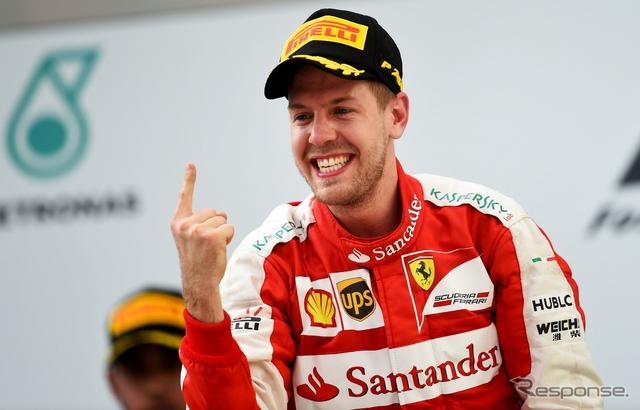 フェラーリ移籍2戦目で初勝利を手にしたセバスチャン・ベッテル《画像 Getty Images》