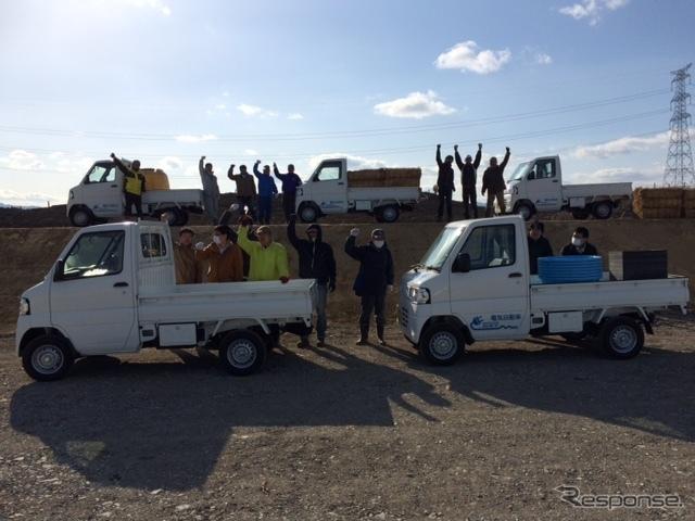 ミニキャブ-MiEVトラックとスタッフ