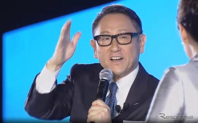 トヨタ豊田章男社長(トヨタ Investors Meeting 2015 中継より)(中継 スクリーンショット)