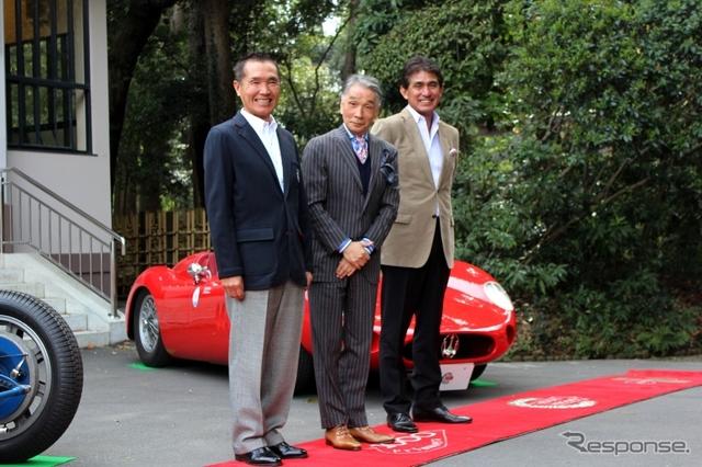応援に駆け付けた篠塚健次郎氏(左)、堺正章氏(中央)、鈴木亜久里氏(右)《撮影 内田俊一》