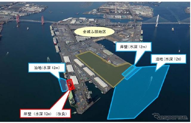 名古屋金城ふ頭の再編改良工事計画 赤い部分が2015年度実施予定で、青い部分が2016年度以降実施