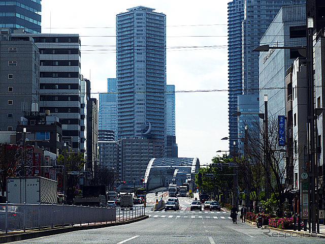築地付近から晴海通りを眺める。計画上の晴海線はこの写真右手を走っている《撮影 大野雅人(Gazin Airlines)》