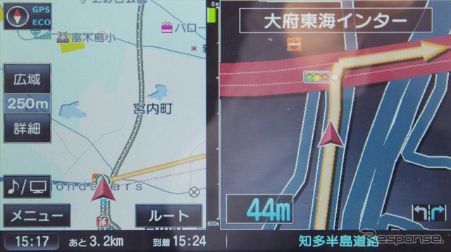 交差点の拡大表示。画面が大きいので変則的な交差点も分かりやすい。《撮影 山田正昭》