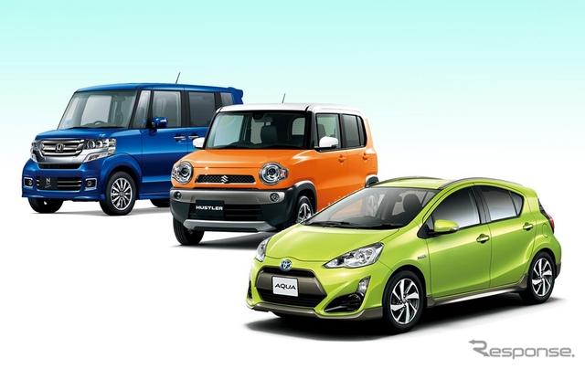 4月の新車販売トップ3。トヨタアクア、ホンダN-BOX、スズキハスラー。