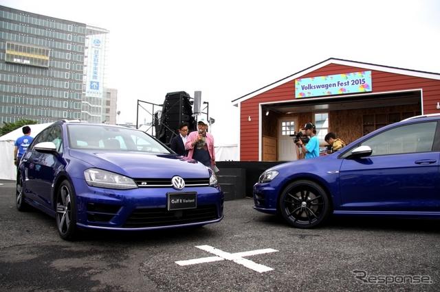 VW ゴルフRヴァリアント(右)と同車ローンチエディション(右)《撮影 内田俊一》