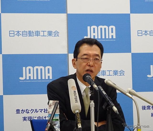 日本自動車工業会の池史彦会長《撮影 池原照雄》