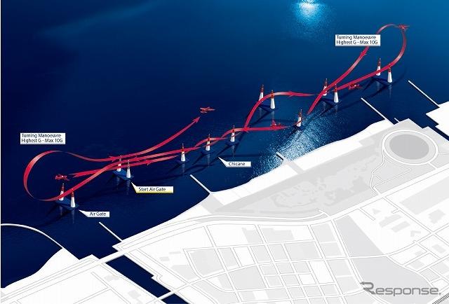 レッドブル・エアレース千葉大会のコース図。全長2kmの直線的なレイアウト。