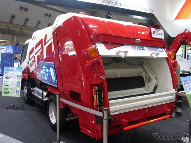 極東開発工業の電動式塵芥収集車Eパッカーハイブリッド