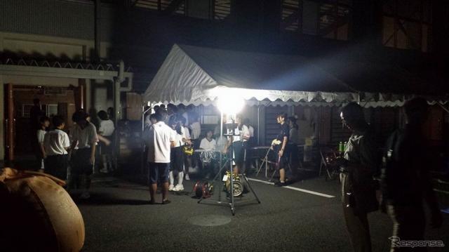 豊田市立藤岡南中学校で実施した防災キャンプ