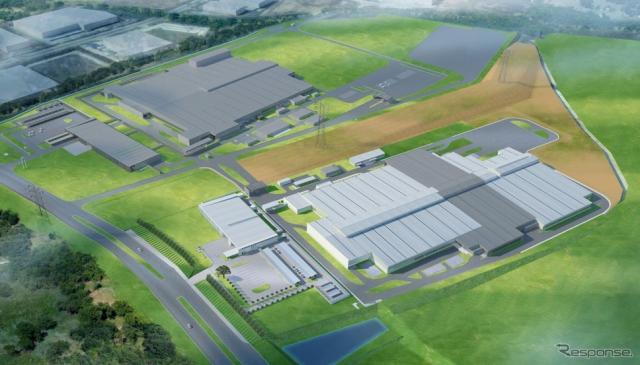 MPMT完成予想図(左上:トランスミッション工場、右下:エンジン工場)
