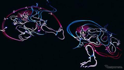 新型 マークX の描く「光の風神・雷神図」が100万回