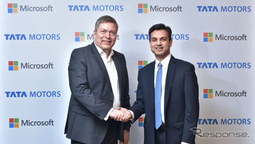 コネクテッドカーの分野での提携を発表したタタとマイクロソフト