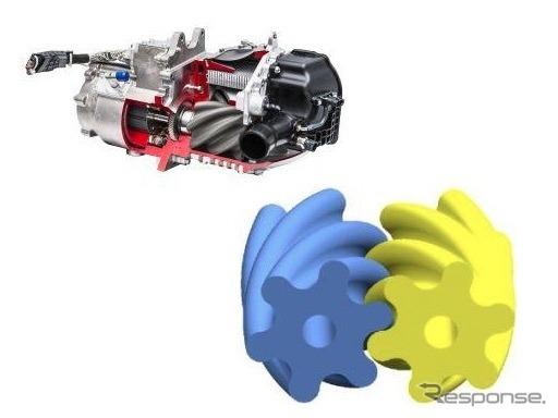 エアコンプレッサー(左上)と6葉ヘリカルルーツ式ローター