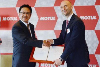 モチュールが全国オートバイ協同組合連合会の推奨オイルに決定…調印式