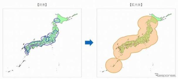 VICS WIDE、大雨エリア情報の提供対象地域を全国に拡大