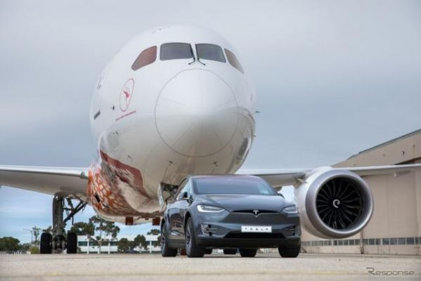 テスラ モデルX、130トンのジェット機を牽引…ギネス新記録