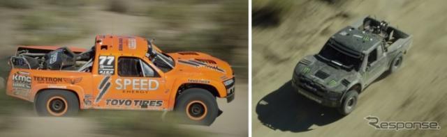 昨年のバハ1000参戦の様子(左:ロビー・ゴードン選手車両/右:BJ バルドウィン選手車)