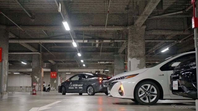 未来の駐車システム「自動バレーパーキング」実証実験、JARIが東京・台場で開催