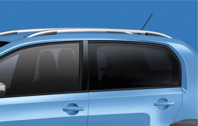 VW cross up! 専用シルバールーフレール/ダークティンテッドガラス(リヤ/リヤ左右、UVカット機能付)