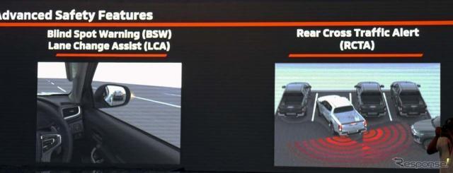 斜め後方の車両を検知するブライドスポット・ウォーニングやリアトラフィック・アラートを装備《撮影 会田肇》