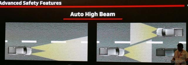 対向車や先行車を検知することで、自動的に前照灯をロー/ハイで切り換えるオートハイビーム搭載《撮影 会田肇》