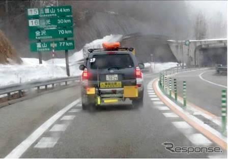 2017年度冬季の連続路面すべり抵抗値測定車(寒地土木研究所所有)による測定状況