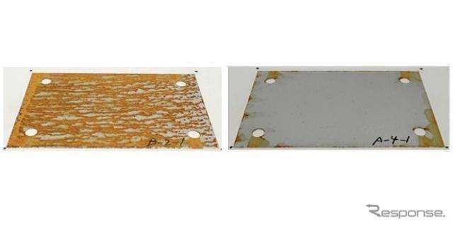 本線スノーポールに設置した金属片の腐食状況(左:塩化ナトリウム散布区間、右:プロピオン酸ナトリウム散布区間)