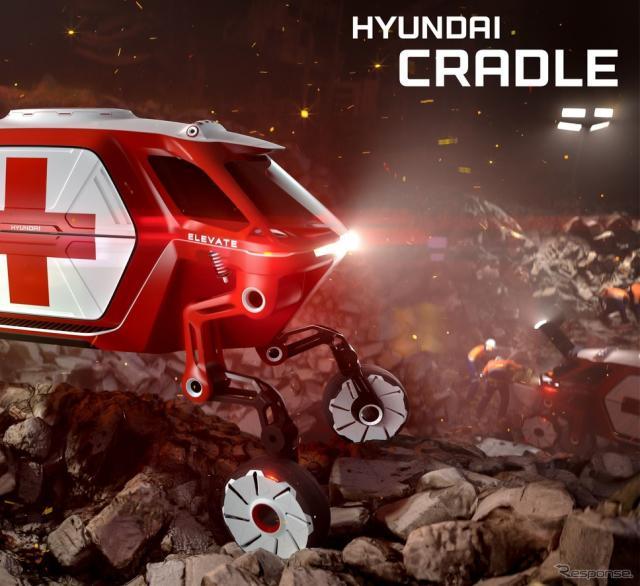 ヒュンダイのロボット式脚付き車輪付き自動運転EV、エレベイトのイメージ
