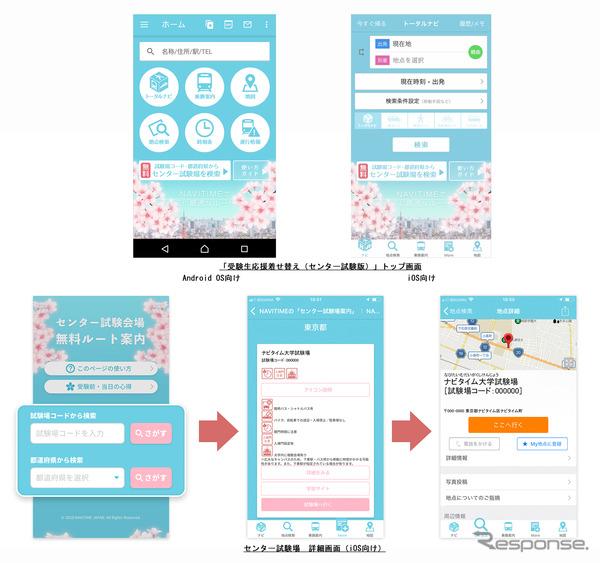 ナビタイム「受験生応援着せ替え(センター試験版)」のトップ画面など、サービスイメージ
