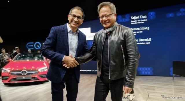 メルセデスベンツのサジャド・カーン上級副社長とエヌビディアの ジェンスン・フアンCEO(CES 2019)