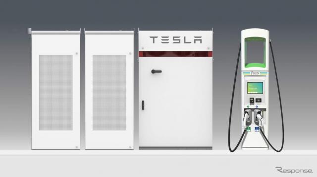 充電ステーションに、テスラのバッテリーを配備