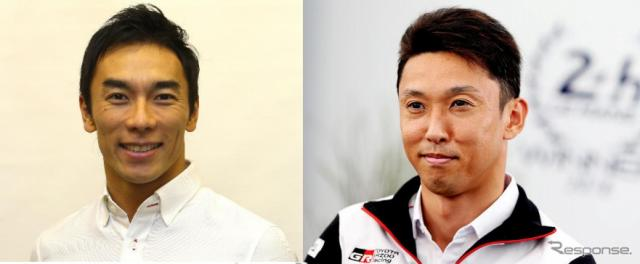佐藤琢磨(左)と中嶋一貴
