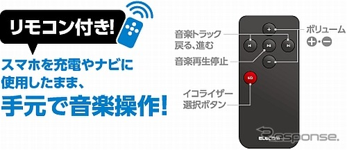 「LAT-FMBTB05Rシリーズ」は、付属の赤外線リモコン(有効範囲3m)での操作もできる。