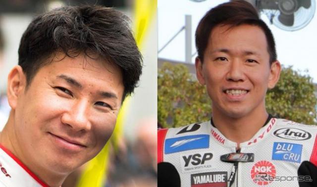 小林可夢偉(左)と中須賀克行