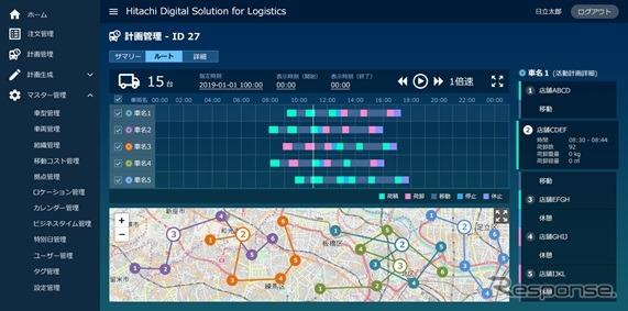 サービスの配送計画管理画面のイメージ