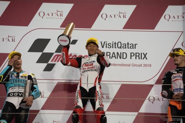 Moto3クラス日本人初優勝の鳥羽海渡(Honda Team Asia)《画像 ホンダ》