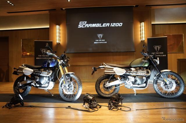 日本での発売が始まったスクランブラー1200 XC(右)と、オフロードでの走破性を高めたスクランブラー1200 XE(左)《撮影 河野正士》