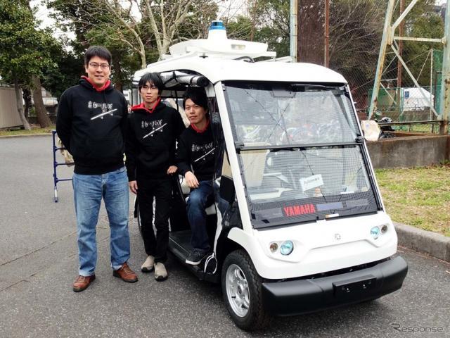 3月23日の「自動運転AIチャレンジ」の準備として参加した「チーム・ラビット」の面々。右から呉澤さん、藤平俊輔さん、薄井宏航さん