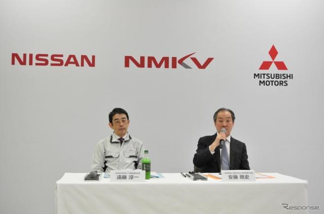 NMKVの遠藤淳一CEO(左)と三菱自動車の安藤剛史副社長《撮影 丹羽圭@DAYS》