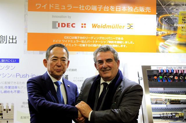 IDEC 舩木俊之 代表取締役会長兼社長とワイドミュラー ホセ・カルロス・アルバレス・トバルCSMOJorg Timmermann CEO《撮影 大野雅人(Gazin Airlines)》